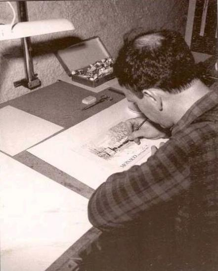 Maitre Pierre Albuisson dans son atelier en 1990